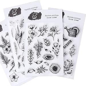 CAILI 4 Set Transparente Álbum de Álbumes de Recortes Álbum de Sellos de Silicona Transparente Sellos de Plantas y Para DIY Postales de Recortes Decoración: Amazon.es: Hogar