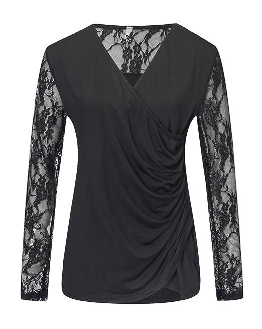 Mujeres Blusa Camisa de Encaje Floral Crochet Top Lace Shirt Manga Larga Negro EU 44