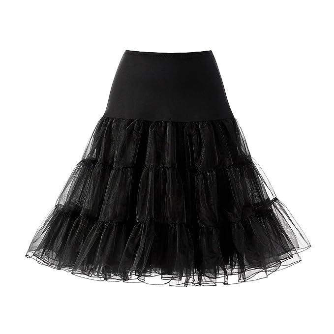 "ec0e935478 AW 1950s Rockabilly Petticoat Skirts 25"" A-line Tutu Crinoline  Underskirt Black Slips for"