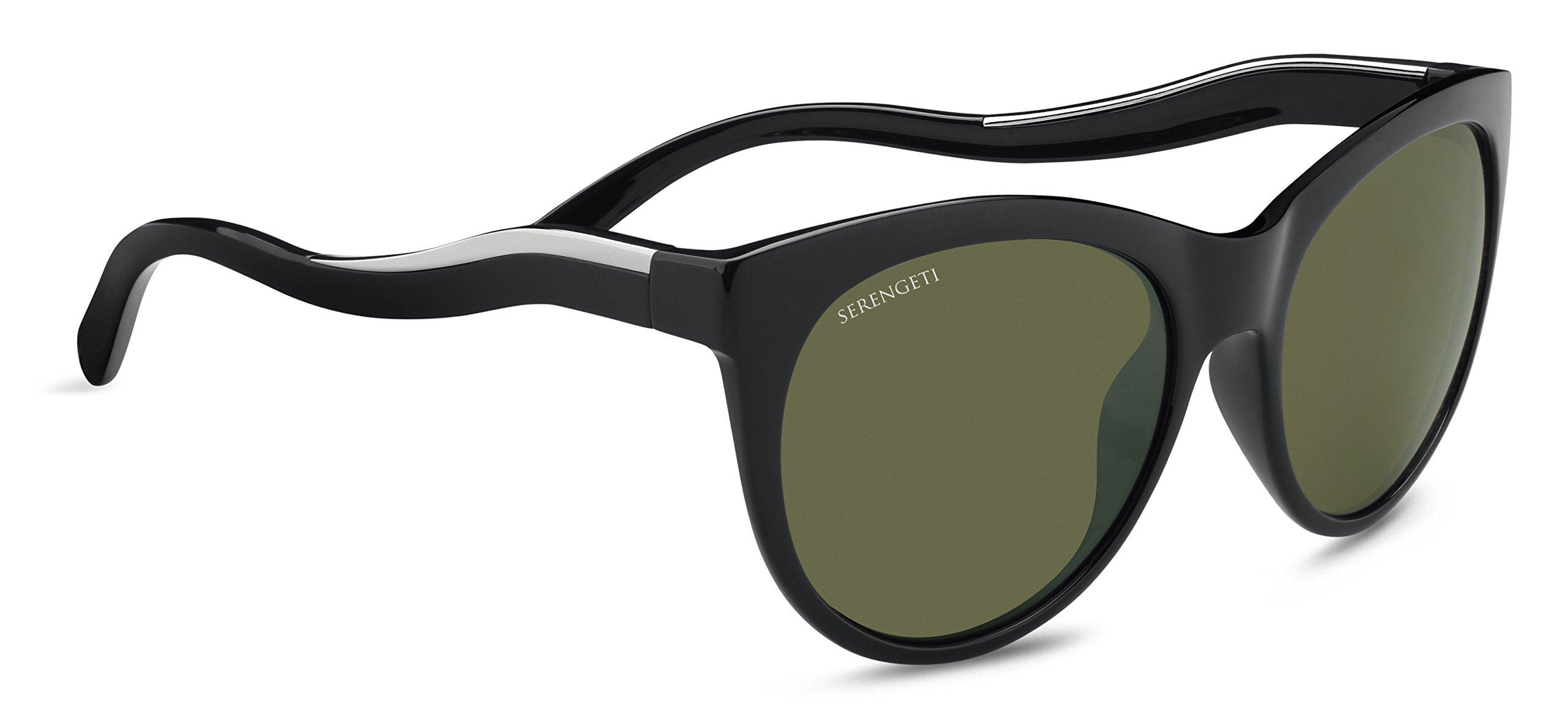 Serengeti Valentina Sunglasses Shiny Black/Shiny Silver, Green