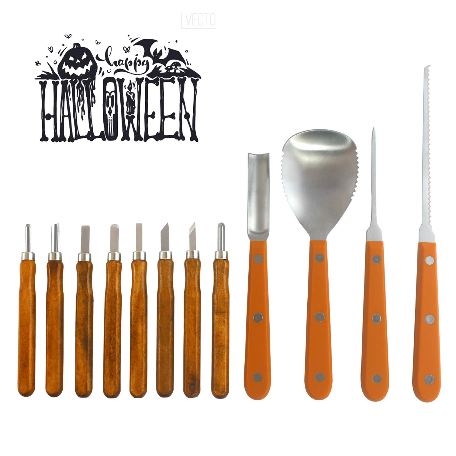 Pumpkin Carving Kit - 12 Piece Heavy Duty Stainless Steel pumpkin carving tools , Easily Carve Sculpt Halloween Jack-O-Lanterns, Carving Tools Make Great Spooky Décor by Halloween Art (Image #3)