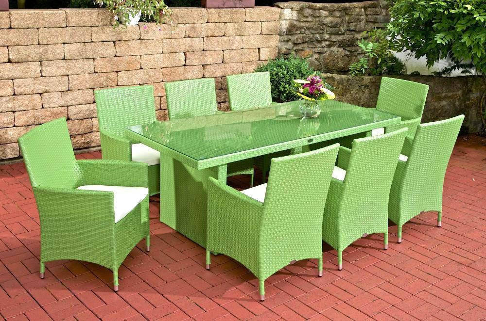 CLP Polyrattan Sitzgruppe AVIGNON BIG (8 Stühle + Tisch 200 x 90 cm) INKL. bequemen Sitzauflagen, aus bis zu 6 Rattan-Farben wählen grün