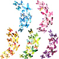 Heansun 60 PCS Butterfly Wall Decals, 3D Butterfly Wall Sticker for Room Home Nursery Decor(5 Colors)