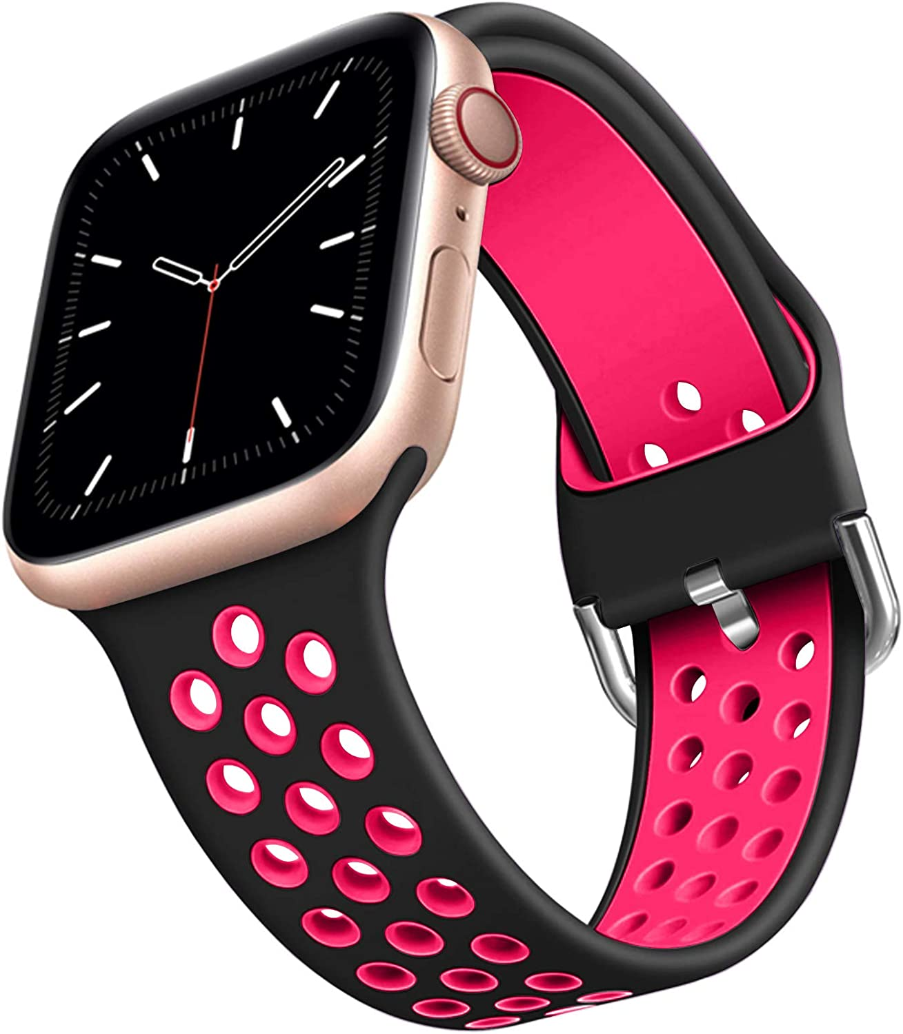 Compatible for Apple Watch Band 44mm 42mm 40mm 38mm Soft Silicone Sport Band Replacement Wrist Strap Compatible for iWatch Series 6/SE/5/4/3/2/1 Suitable For Men And Women