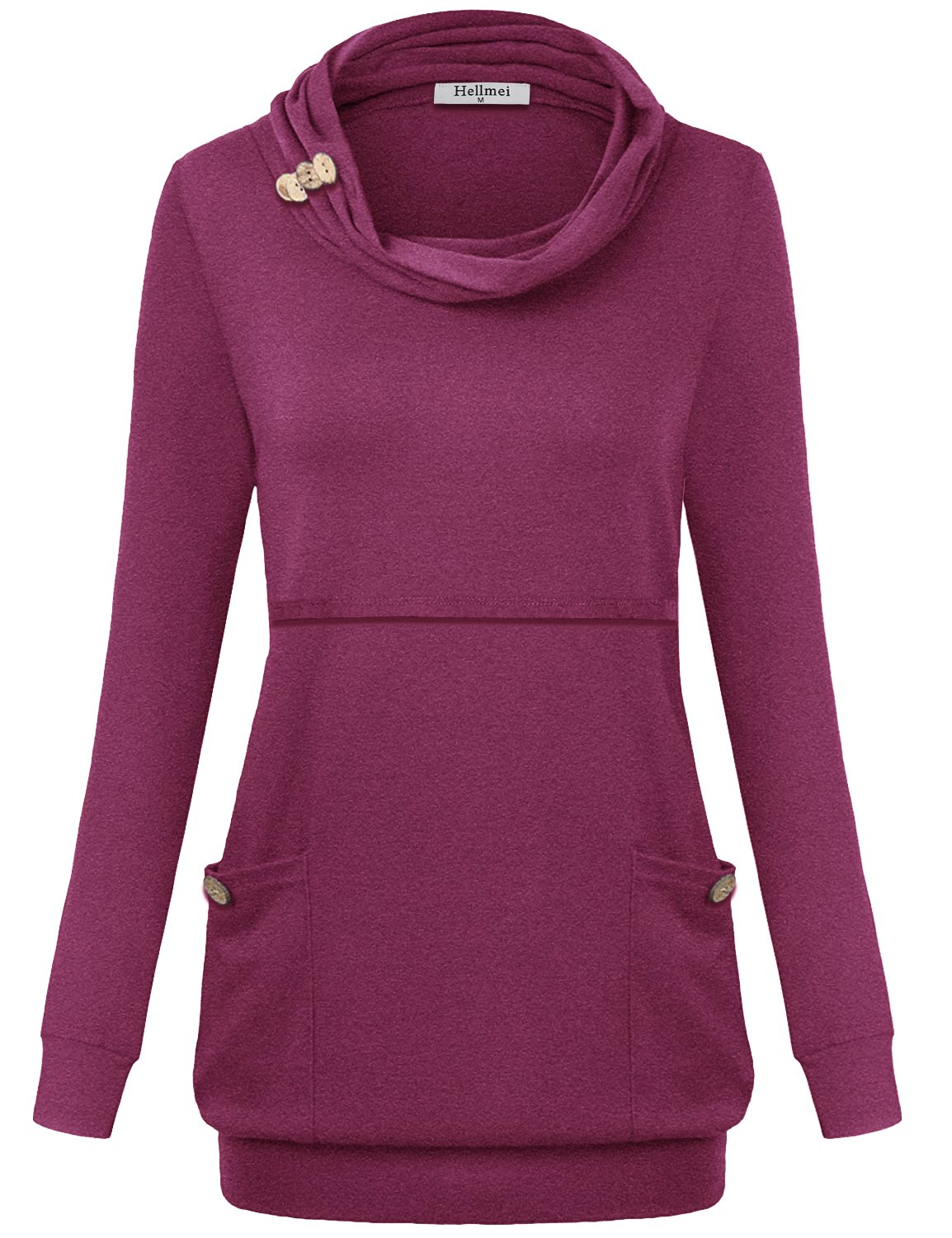 Hellmei Womens Nursing Tops, Ladies Petite Trendy Draped Prime Misses Shirt Long Sleeve Jersey Cotton Trapeze Cowl Neck Tunic A-Line Pleat Stretchy Business Casual Clothing Rose Red M by Hellmei (Image #2)