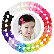 15 Pairs Tiny Baby Girls Grosgrain Ribbon Hair Bows Clips for Toddlers Kids (2.3'' Hair Bows with Alligator Clips)
