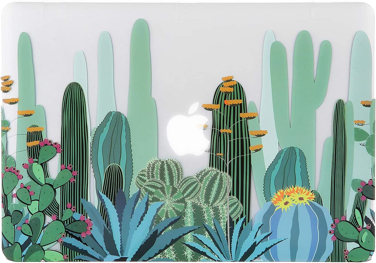 iDonzon MacBook Air 13 inch Case (Model: A1466/A1369, 2010-2017 Release), 3D Effect Matte Clear See Through Hard Cover Only Compatible Older Version Mac Air 13.3 inch - Cactus Pattern