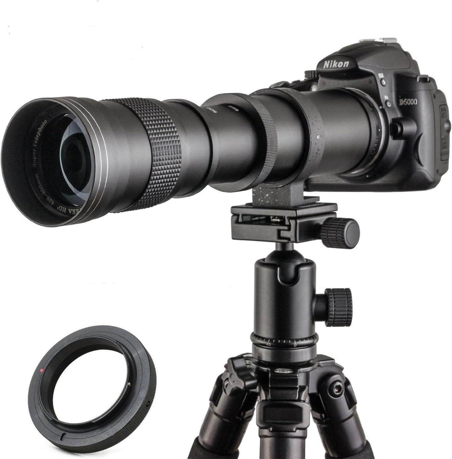 Jintu 420–800 mm F/8,3-16 Top téléobjectif à mise au point manuelle plein format pour Nikon D7100 D80 D90 D600 D5000 D5100 D3200 D7000 D7200 DSLR appareil photo numérique + sacoche en cuir