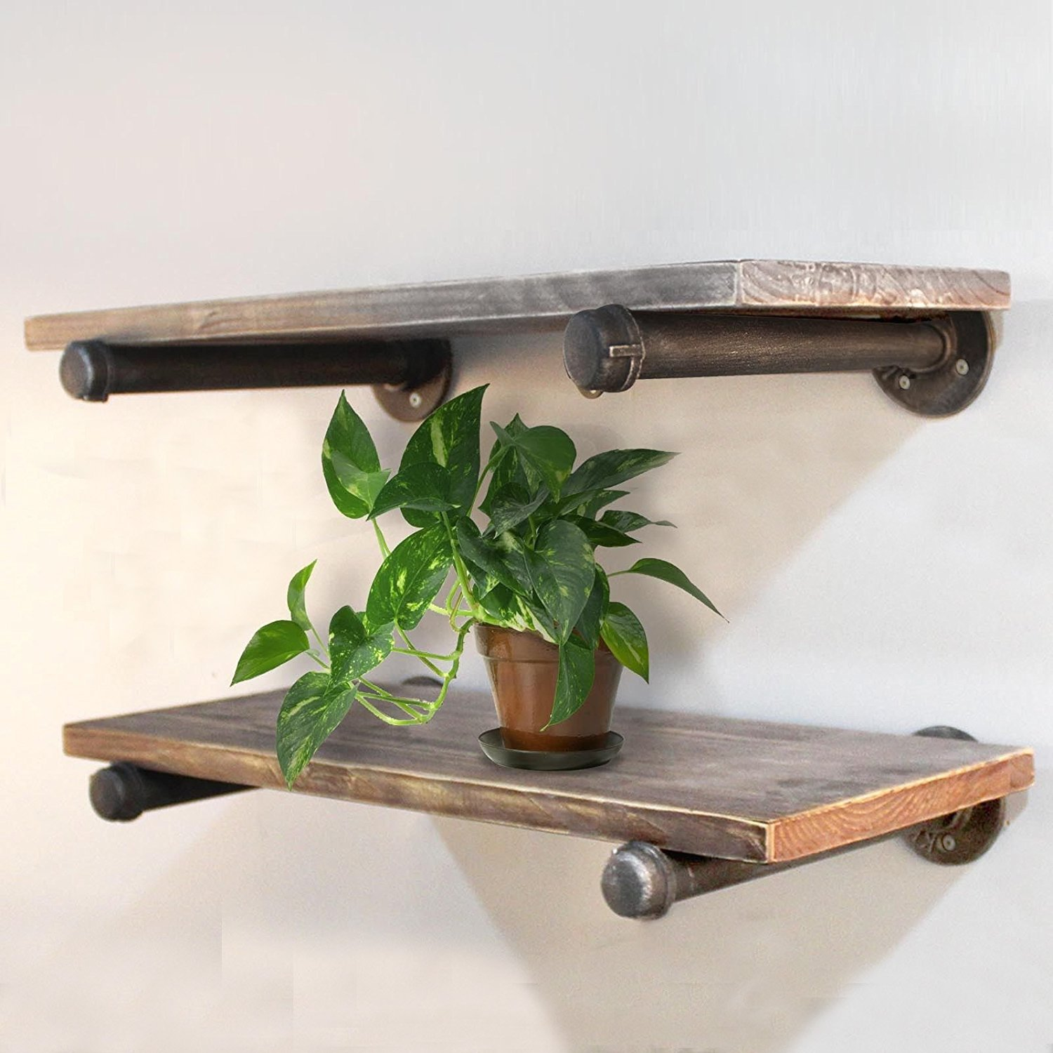 Rustic Industrial Wood Wall Shelves Pipe Shelf Bookcase 24''x10'' (Two Shelf Bookcase) by WGX (Image #1)