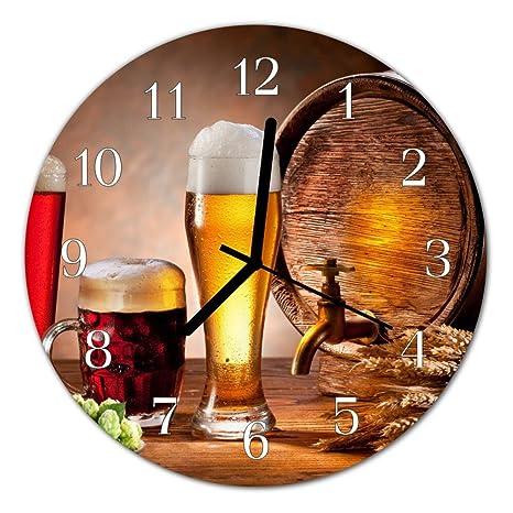 Deko Cristal Reloj Barril de Cerveza marrón Reloj Redondo de Vidrio acrílico Grandes Diseño