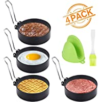 Egg Rings, Yokilly 4 Pack Round Egg Mcmuffin Maker Mold, Stainless Steel Non Stick Metal Circle Shaper Mold, Breakfast Household Kitchen Cooking Tool for Fried Egg Pancake Sandwiches or Shaping Eggs