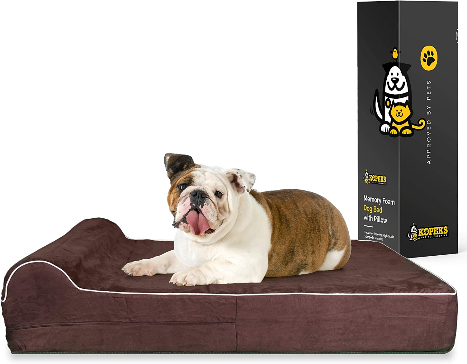 7-inch Thick High Grade Orthopedic Memory Foam Dog Bed With Pillow and Easy to Wash Removable Cover with Anti-Slip Bottom : Pet Supplies