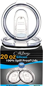 2 Yeti Lids 20/10 oz Spill Proof - No Leak Splash Proof Replacement Silicon Slider Locking Closure, 2 Lid for Tumbler, Fit Ozark, Open/Close 3 Inch Diameter by C&Berg Model 2020
