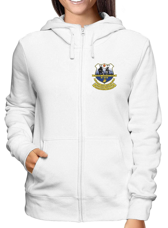 Sweatshirt Damen Hoodie Zip Weiss TM0328 2ND Battalion 25TH Marine Regiment USMCR USA