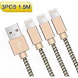 Câble iPhone AOSTA 1.5m [Pack de 3] Cable Lightning vers USB Chargeur iPhone en Nylon avec Aluminium Connecteur pour iPhone 8/X/7/7 Plus/6s/6s Plus/6/6 Plus/5C/ 5S/5/SE,iPad,iPad Pro,Air,iPad mini et Des Autres(OR)