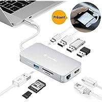 USB C Hub, DesertWest USB Typ C Hub Adapter 9 in 1 Aluminium Typ C Hub mit HDMI 4K, Gigablit Ethernet RJ45, 4 USB 3.0, SD/TF Kartenleser mit Typ C PD Ladung für MacBook Pro, Chromebook usw.