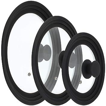 COM-FOUR® 3 Protector contra salpicaduras universal Tapa de vidrio con borde de silicona