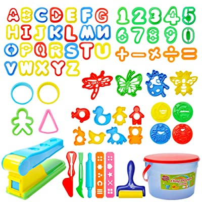 Mysterystone 69 Pcs Kit Clay Dough Party Pack with Letters, Numbers, Operator, Doh Extruder Machine, Stamps, Cutters, Molds- Mega Tool Playset in Storage Bucket (Random Color), Multicolor: Toys & Games