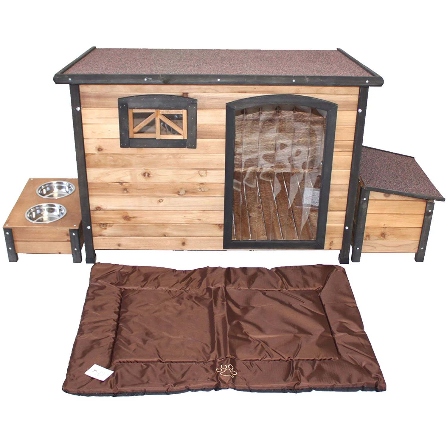 PETJOINT Large Wooden Dog House + Storage Box + Food Bowls + Waterproof Mattress   Wood Pet Puppy Kennel Timber Home Indoor Outdoor