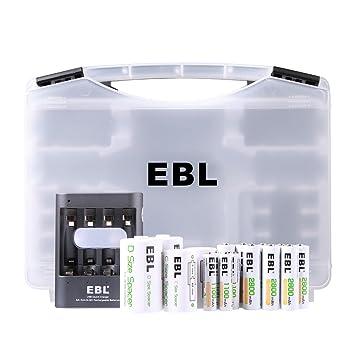 EBL Cargador Rápido de Pilas Adaptador de Baterías AA a C y AA a D(con 8 x Baterías AA,4 x Baterías AAA), Pilas Recargable AA/AAA Ni-MH