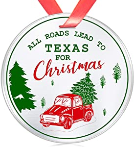Elegant Chef All Roads Lead to Texas for Christmas- Christmas Ornament Gift for Family Friends- Tree Hanging TX Festival Decoration for Xmas Holidays Celebration- 3 inch Flat Stainless Steel