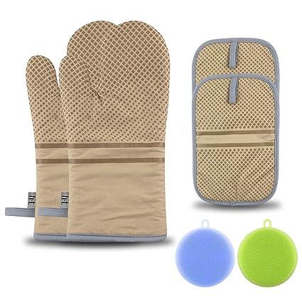 FHzytg Topflappen Silikon, Ofenhandschuhe Hitzebeständig, Hitzebeständige Handschuhe bis zu 250?, Silikon Anti-Rutsch Grillha