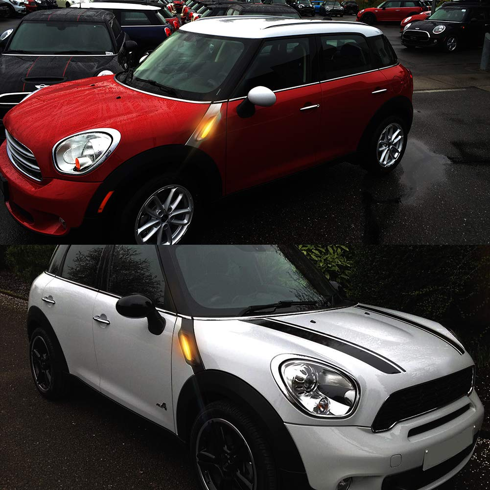 TurningMax Clear Lens Amber LED Fender Side Marker Blinker Lights Compatible For Mini Cooper R60 Countryman or R61 Paceman