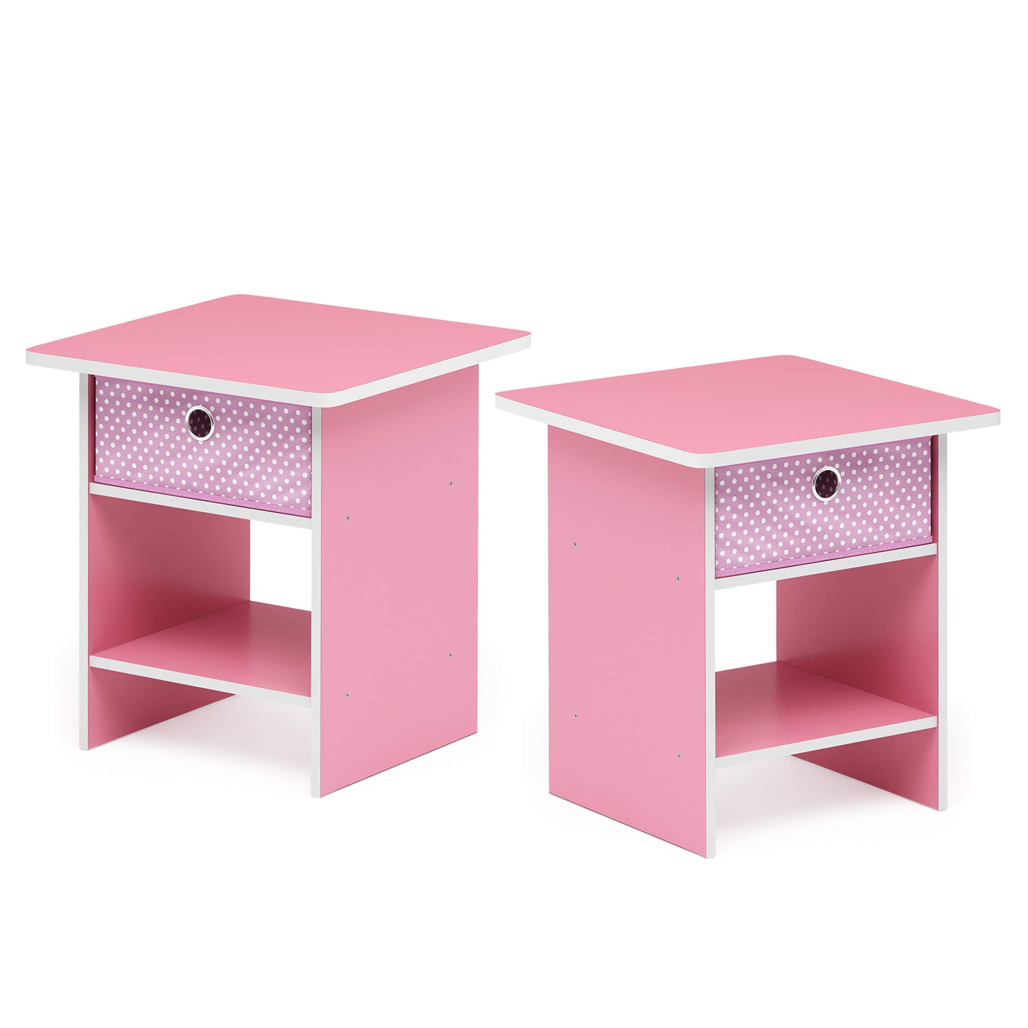 Furinno 2-10004PI Bin Drawer Storage 2-Pack End Table Nightstand, Light Pink by Furinno