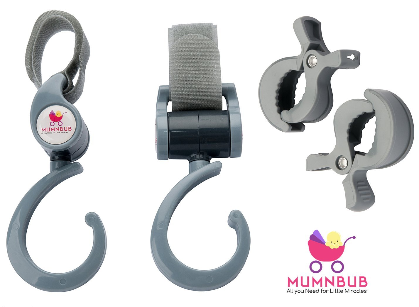 MumnBub Stroller Hook - 2 Pack (Grey) Multi-Purpose Heavy Duty Buggy Clips for Mommy - Universal Fit Perfect Pram Accessories for Hanging Diaper Bag, Shopping Bag, Groceries -Includes 2 Stroller Pegs by MumnBub