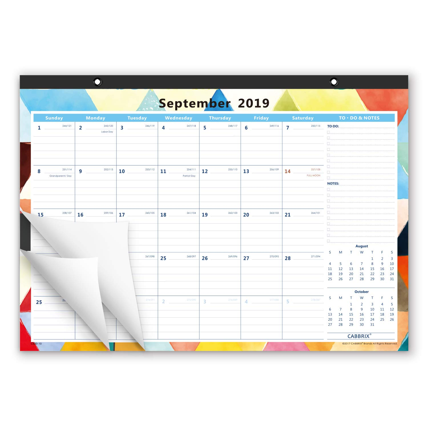 Cabbrix 2019-2020 Academic Year Monthly Desk Pad Calendar, Ruled Blocks, 17 x 12 Inches, Geometric Colorful