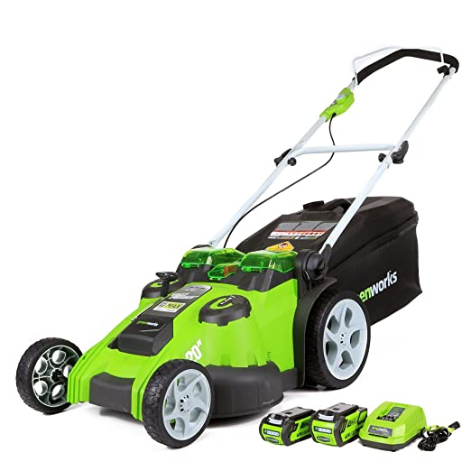 GreenWorks 25302 G-MAX 40V Twin Force 20-Inch Cordless Lawn Mower, (1) 4Ah (1) 2Ah Batteries & Charger Included