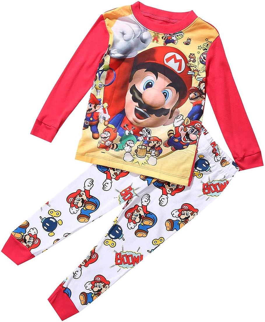 Pijama infantil de Super Mario para ni/ños de 1 a 7 a/ños de edad jsadfojas