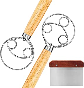 Bluegogo Danish Dough Whisk, 2 Pack Stainless Steel Dutch Whisk With a Dough Scraper for Bread Cake Pastry Food