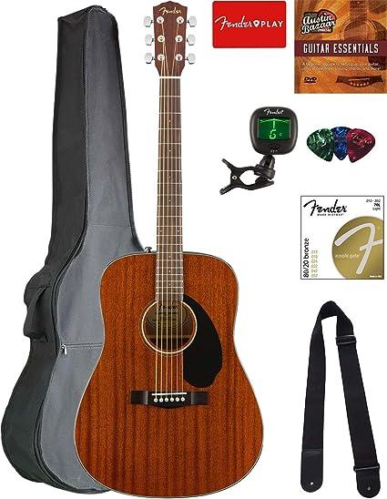 Fender CD-60S Dreadnought - Guitarra acústica – de caoba con bolsa ...