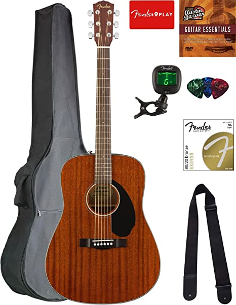 Fender CD-60S Dreadnought - Guitarra acústica - de caoba con bolsa ...