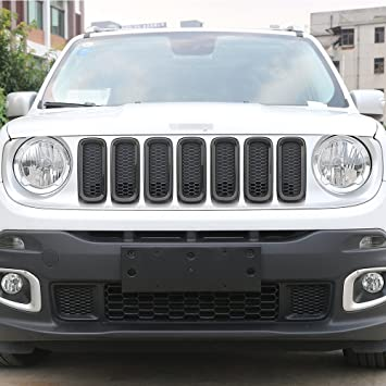 JeCar 7pcs Front Grille Trim Inserts Grill Cover For Jeep Renegade 2015 2016 2017 Black