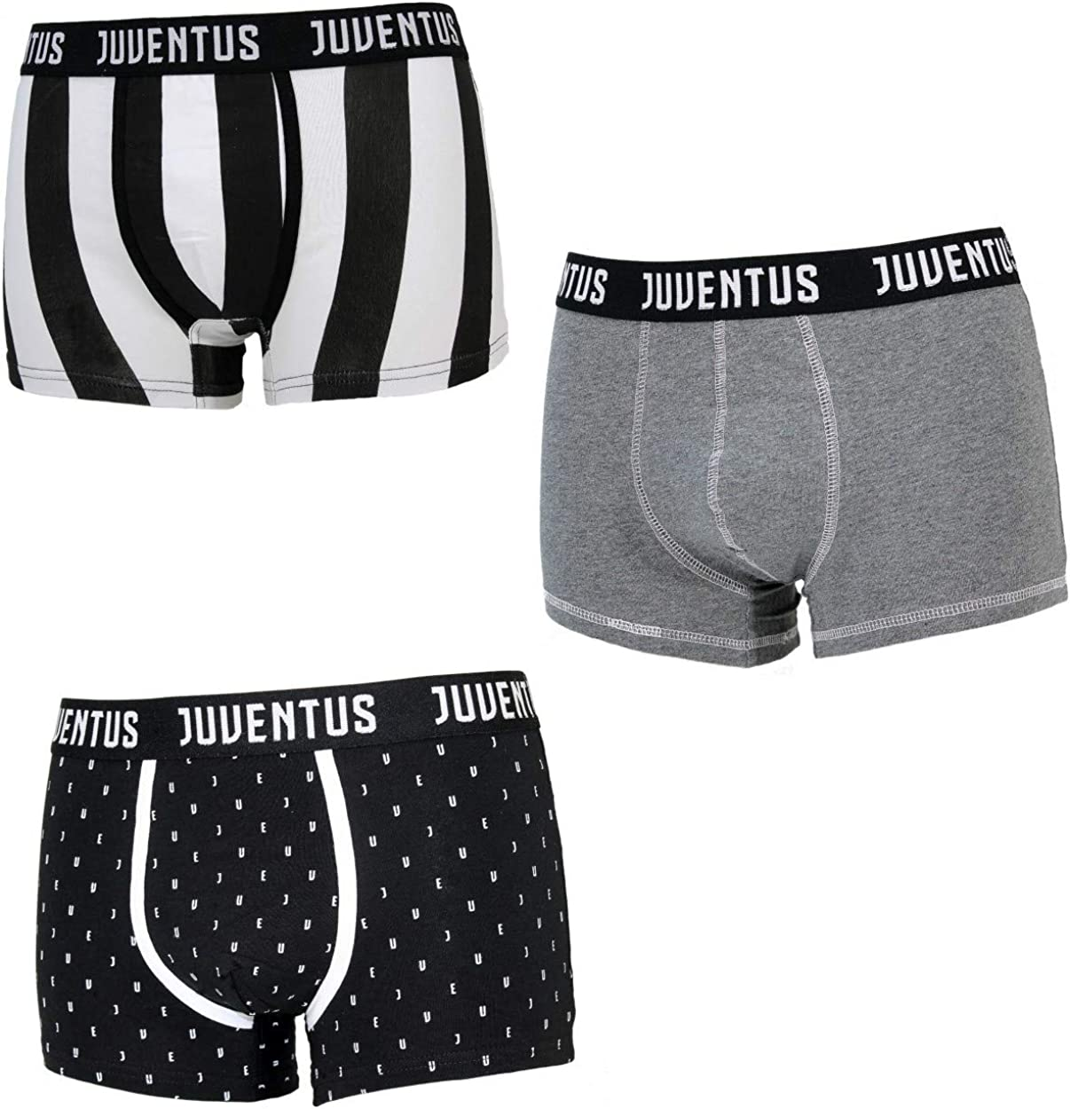 JU12050 Assortito Juventus 6 Boxer Ragazzo Cotone Elasticizzato Prodotto Ufficiale Juve Art