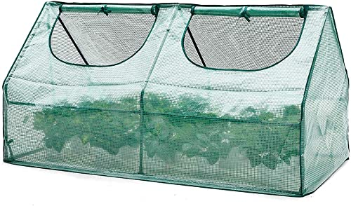 AMERLIFE Portable Mini Greenhouse Waterproof UV Protected PE Cover Suitable for Garden Patio Backyard Indoor Outdoor Use Extra Ground Pegs,71 x36.3 x36.3 , Green