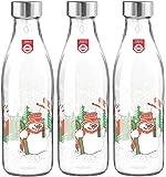 Treo by Milton Ivory Premium Glass Printed Bottle 1000 ml, Set of 3 (Snowman)