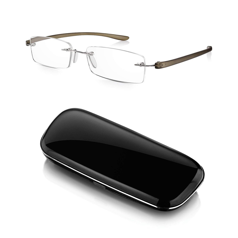 Read Optics Hombre/Mujer Gafas de Lectura Montura al Aire + Duro Estuche: Lentes Graduadas + 2.5 Dioptrías Anti-UV/AntiReflejos – Varillas Flexibles y ...