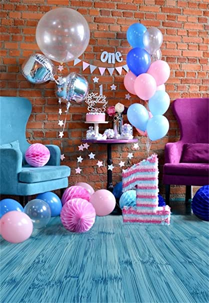 Laeacco Vinyl 3x5ft Photography Background 1st Birthday Party Holiday Decorations Brick Wall Blue Wood Floor Balloons