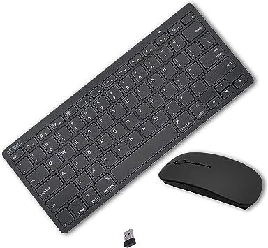 Mini teclado y ratón inalámbricos de 2,4 GHz, color negro para Apple iMac MacBook Pro