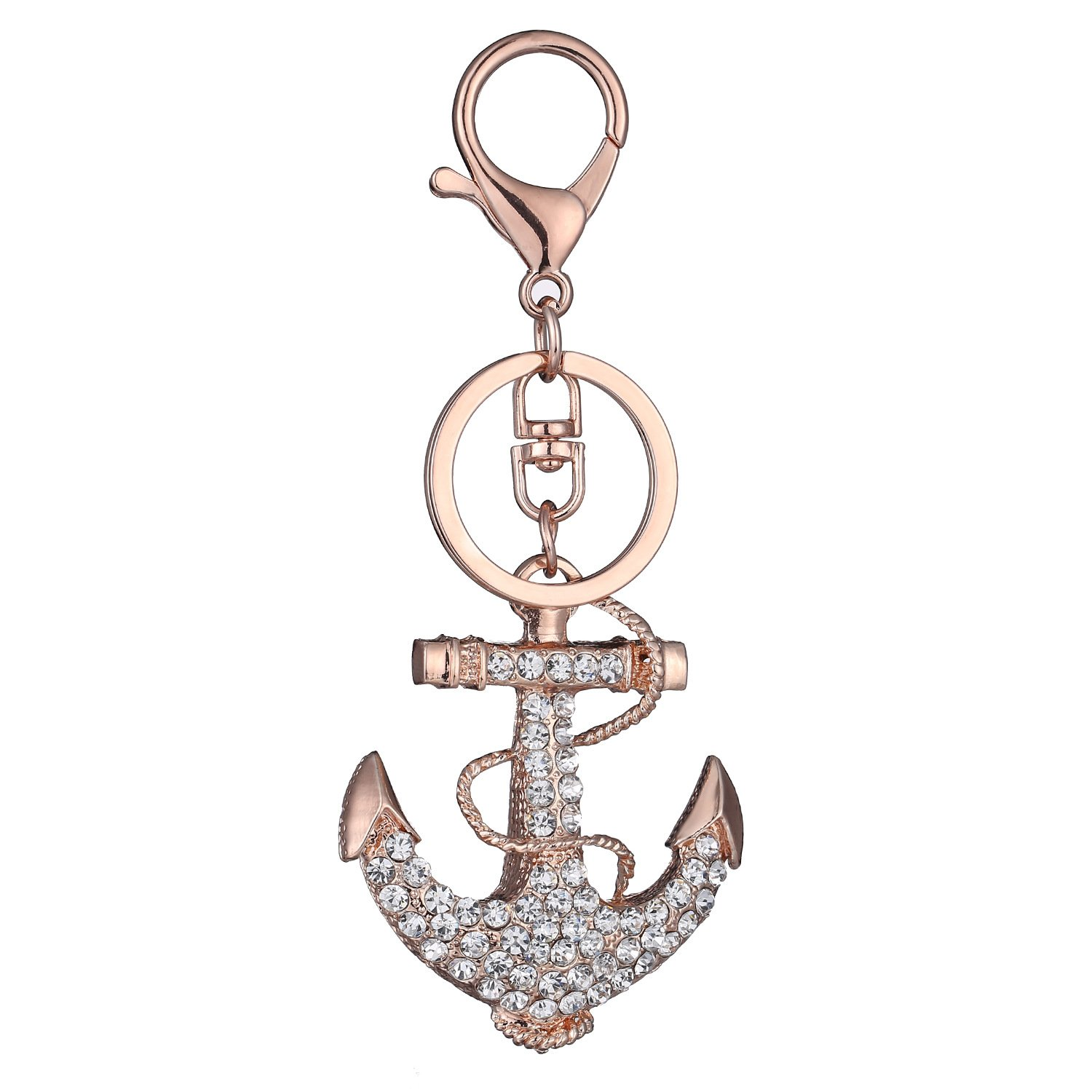 DYbaby Bling Bling Crystal Keychain Lovely Handbag Decoration Car Key Decoration for Womens and Girls (Boat Anchor)