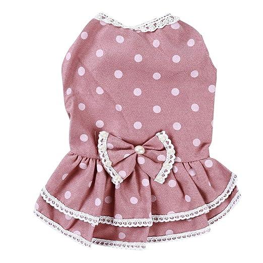 LWANFEI - Vestido de princesa para perro, diseño de lunares, falda ...