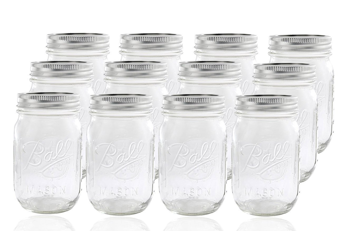 1 Ball Mason Jar with Lid - Regular Mouth - 16 oz, 12-Pack