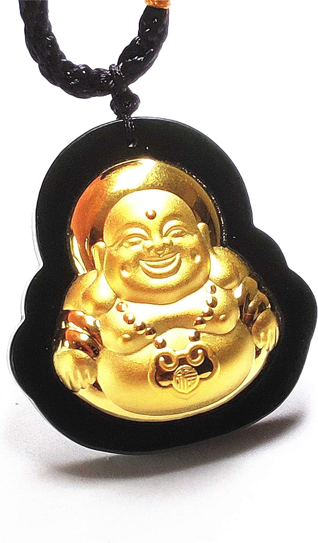Yigedan - Collar con colgante de Buda de jade verde oscuro de 24 quilates