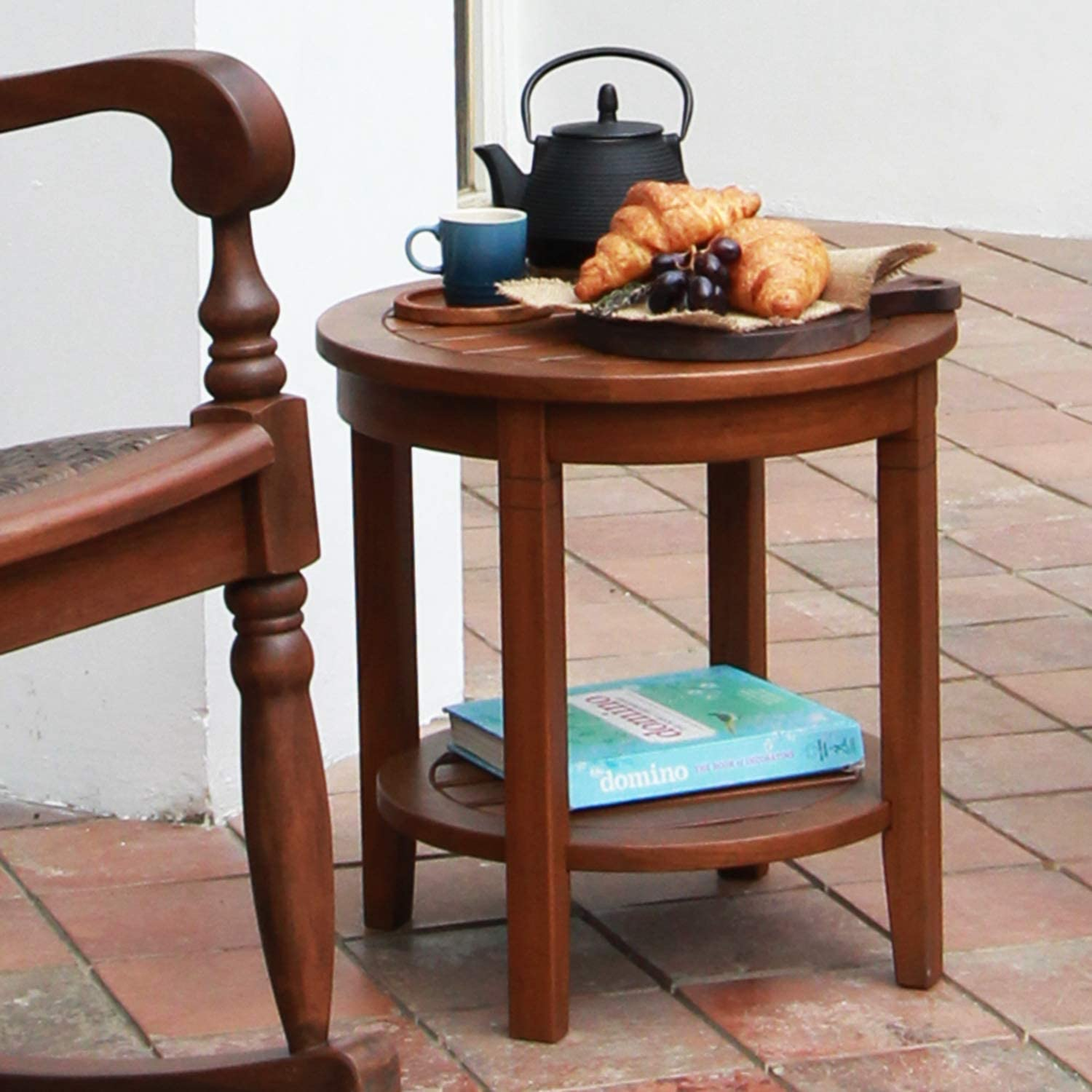 Cambridge Casual Solid Wood Bentley Side Table with Shelf, Natural
