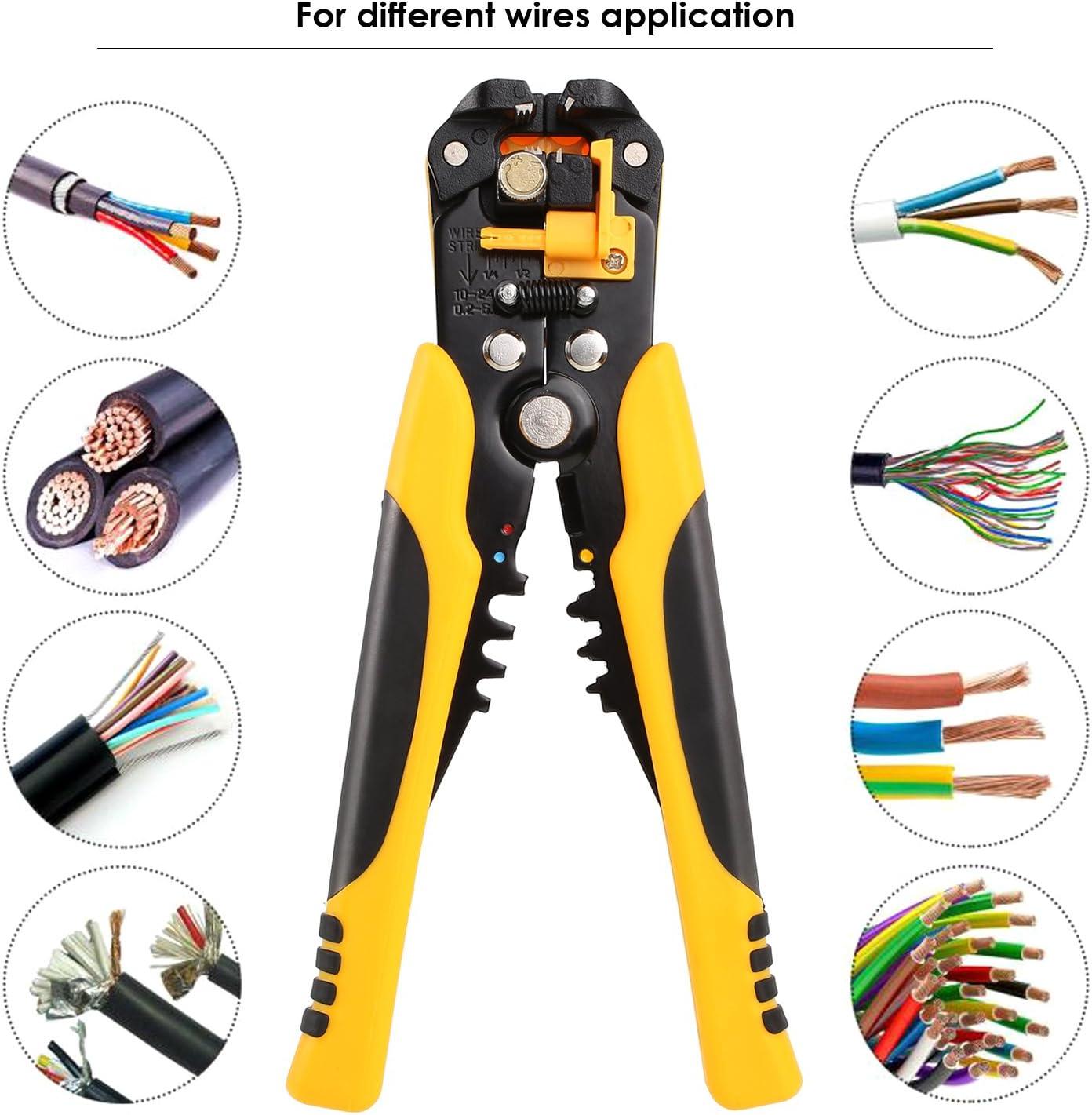 Fixkit - Pelacables autoajustables, herramienta de pelado automático de cables de 20,3 cm con agarres premium AWG 10-24 (0,2 ~ 6,0 mm²) – Multi herramienta pelacables, cortador y crimpadora (amarillo con negro): Amazon.es: Bricolaje y herramientas