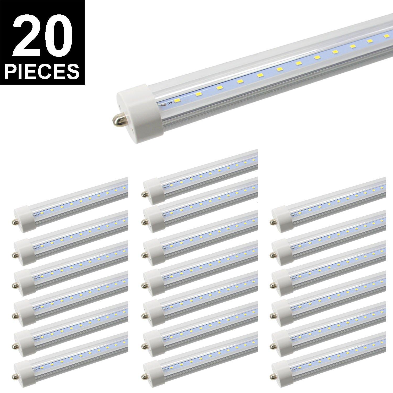 20-Pack 8ft T8 LED Tube, CNSUNWAY LIGHTING 45W 96'' FA8 Single Pin Light Bulb 6000K-6500K Daylight White 4800LM Lamps (20, Clean Cover)