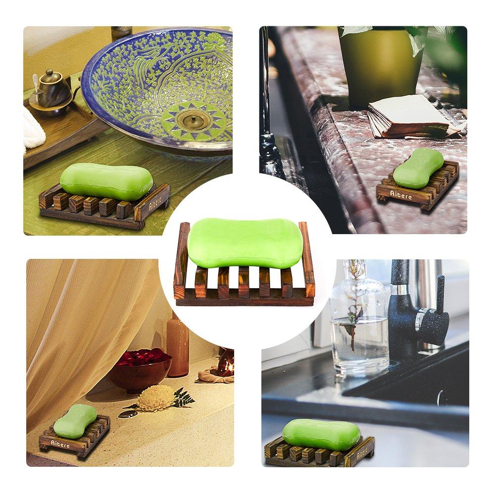 Aitere Soap Dish/Soap Holder Home Bath Accessories Hand Craft Natural Wood Soap Case Holder(2 Pcs)